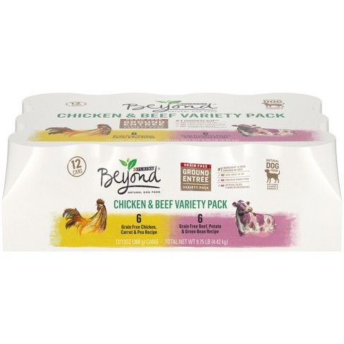 Purina Beyond Grain Free Natural Pate Wet Dog Food Chicken & Beef Recipe Variety Pack -  12ct - image 1 of 6