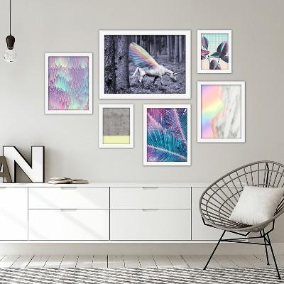 Americanflat Iridescent Unicorn World 6 Piece Framed Art Set by Emanuela Carratoni