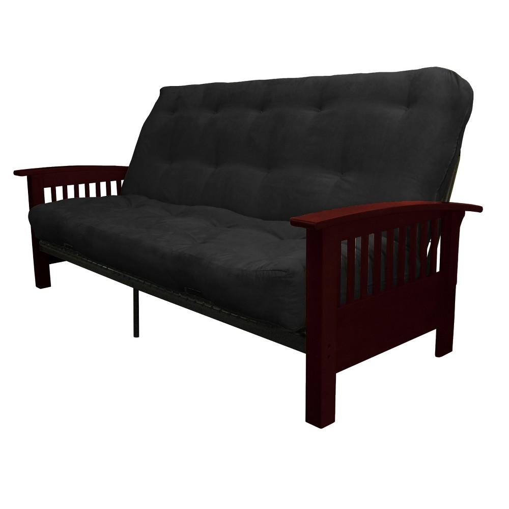 8 Craftsman Cotton/Foam Futon Sofa Sleeper Mahogany Wood Finish Matte Black - Epic Furnishings