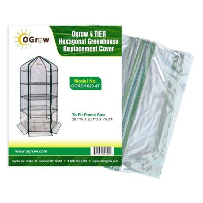 4 Tier Hexagonal Greenhouse Replacement Cover Clear - OGrow
