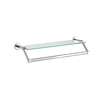 Mounted Glass Shelf with Towel Bar Chrome - Bath Bliss