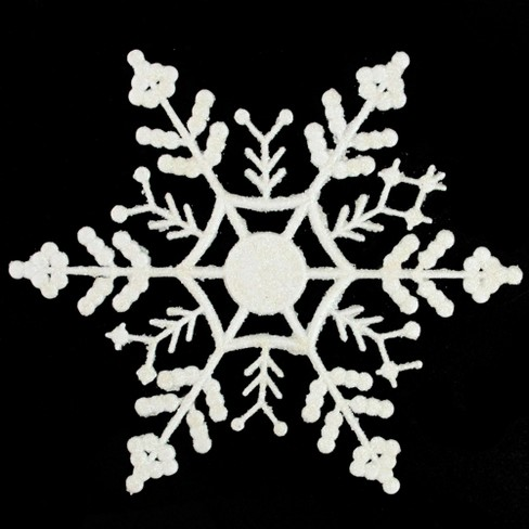 """Northlight 12ct White Glitter Snowflake Hanging Christmas Ornaments 6.25"""" - image 1 of 3"""