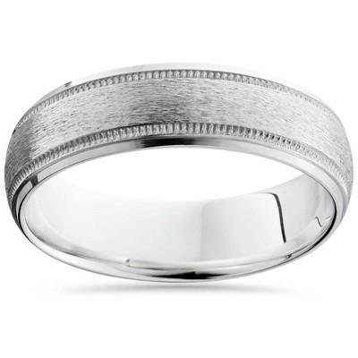 Pompeii3 Brushed Milgrain & Polished Beveled Wedding Band 14K White Gold 6mm