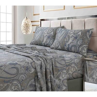 Full 300 Thread Count Printed Pattern Sateen Sheet Set Gray Paisley - Tribeca Living