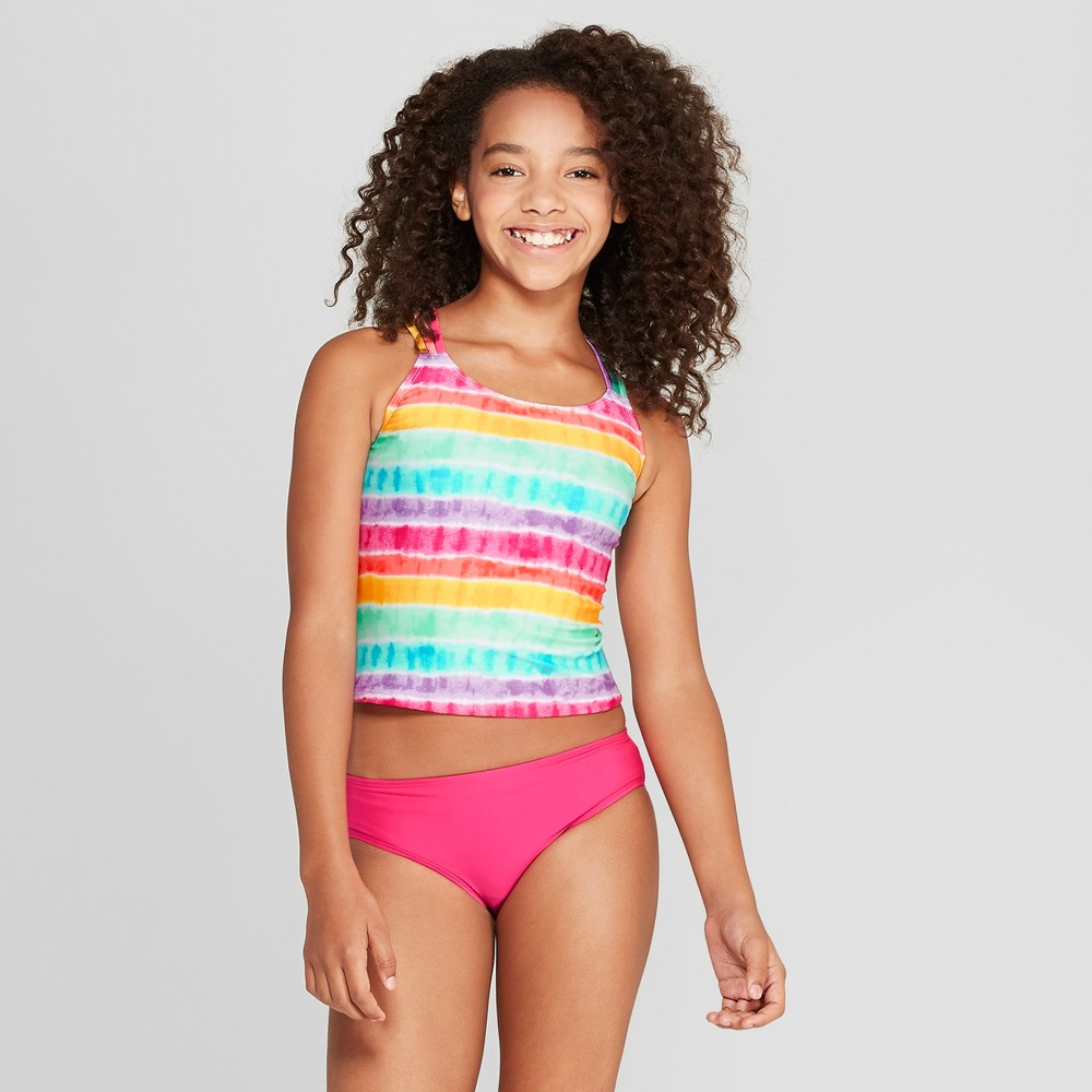 Plus Size Girls' Rainbow Tie Dye Tankini Set - Cat & Jack Pink XL Plus