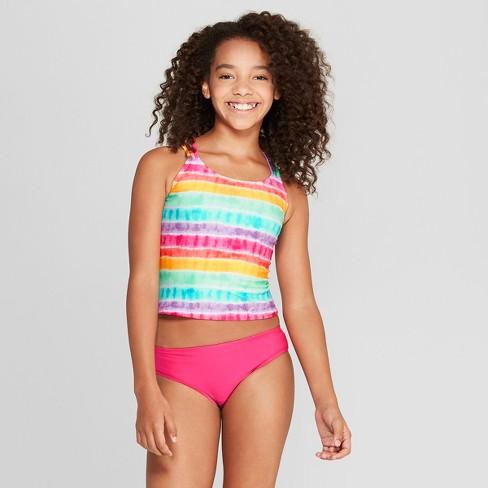 b4bdc28f81d Girls  Rainbow Tie Dye Tankini Set - Cat   Jack™ Pink   Target