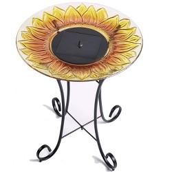 "24.3"" H Sunflower Glass Birdbath - Yellow - Smart Living"