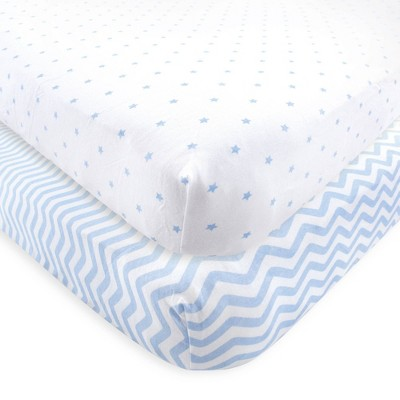 Luvable Friends Unisex Baby Fitted Crib Sheet - Blue Chevron Stars One Size