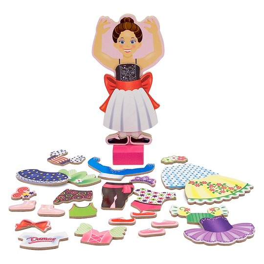 Melissa & Doug Deluxe Nina Ballerina Magnetic Dress-Up Wooden Doll With 27pc of Clothing image number null