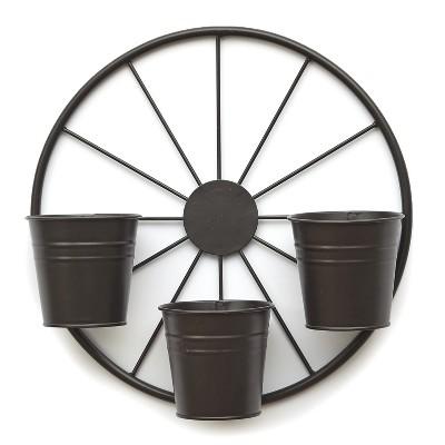 Lakeside Metal Wagon Wheel Garden Planter for Outdoors - Outdoor Fence Accent