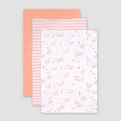 Burt's Bees Baby® Baby 3pk Graceful Swan Burp Cloth Set - Pink