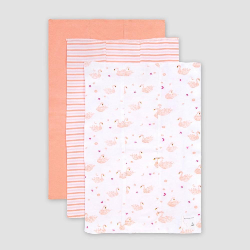 Image of Burt's Bees Baby Baby 3pk Graceful Swan Burp Cloth Set - Pink