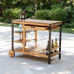 Marco Bar Outdoor Serving Cart Natural/Black - Aiden Lane