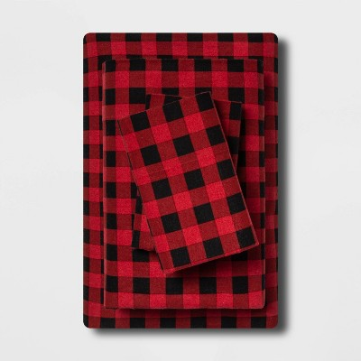 Queen Holiday Print Flannel Sheet Set Buffalo Check - Wondershop™