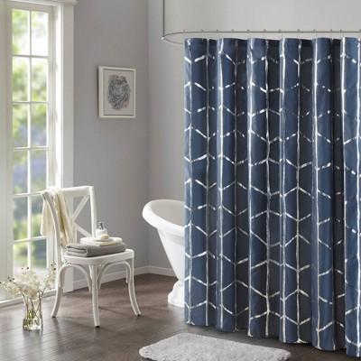 Arielle Printed Shower Curtain Navy