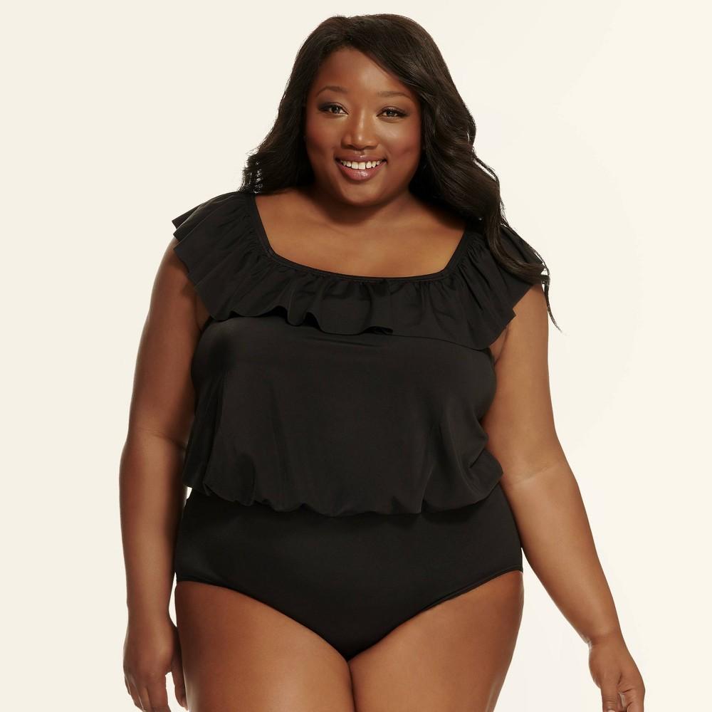c436b44d4a785 Plus Size Dreamsuit by Miracle Brands Womens Plus Slimming Control Blouson  Off the Shoulder One Piece Swimsuit Black 20W