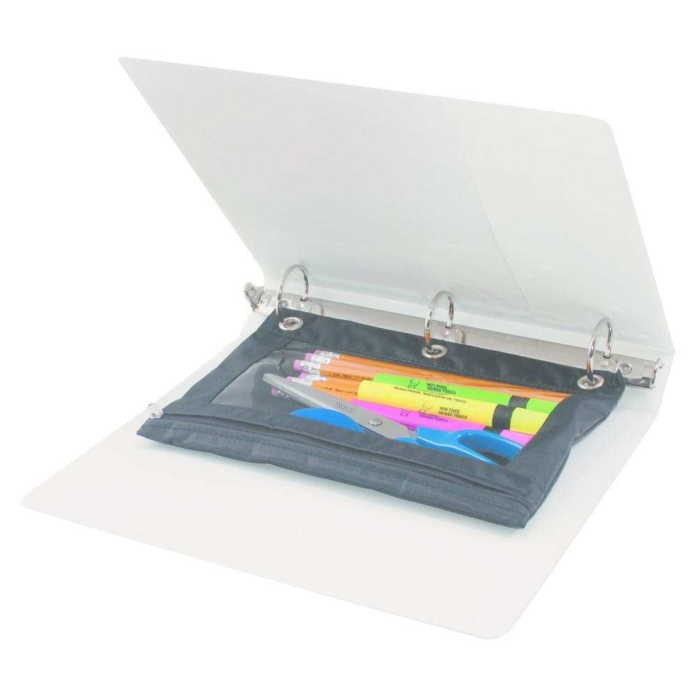 Image of Advantus Binder Pencil Pouch, 10 x 7 3/8, Black/Clear, 3pk, Black Clear