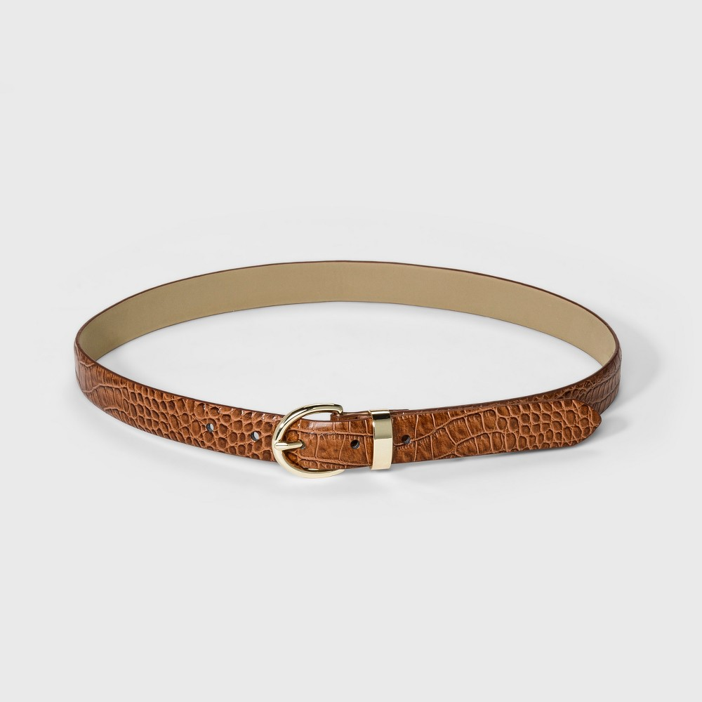 Image of Women's Croco Bombe Belt - A New Day Cognac XL, Brown