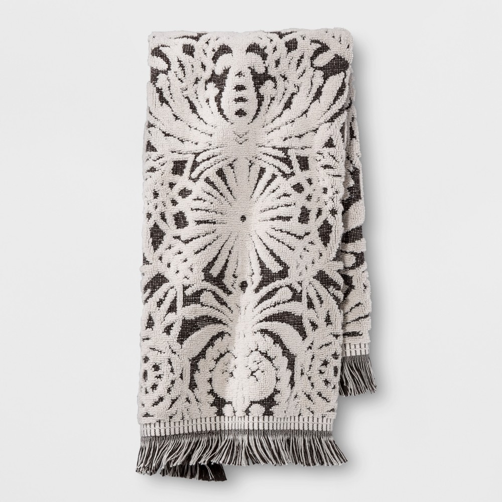 Image of Allover Pattern Hand Towel Black/White - Opalhouse
