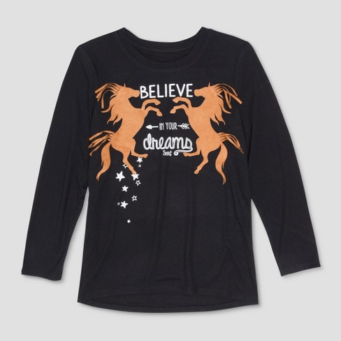 Girls' Spirit Riding Free 'Believe In Your Dreams' Long Sleeve T-Shirt - Black - image 1 of 2