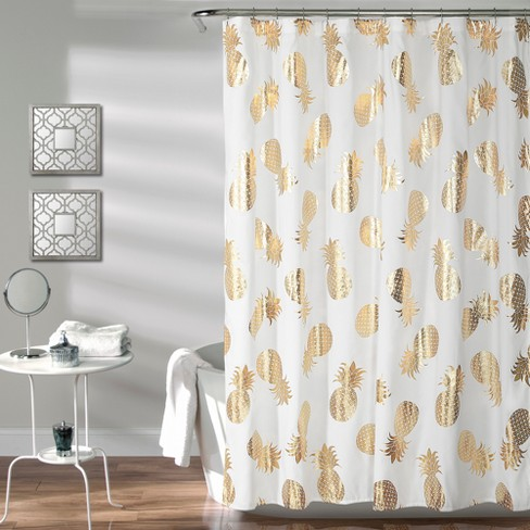 Pineapple Toss Shower Curtain Gold