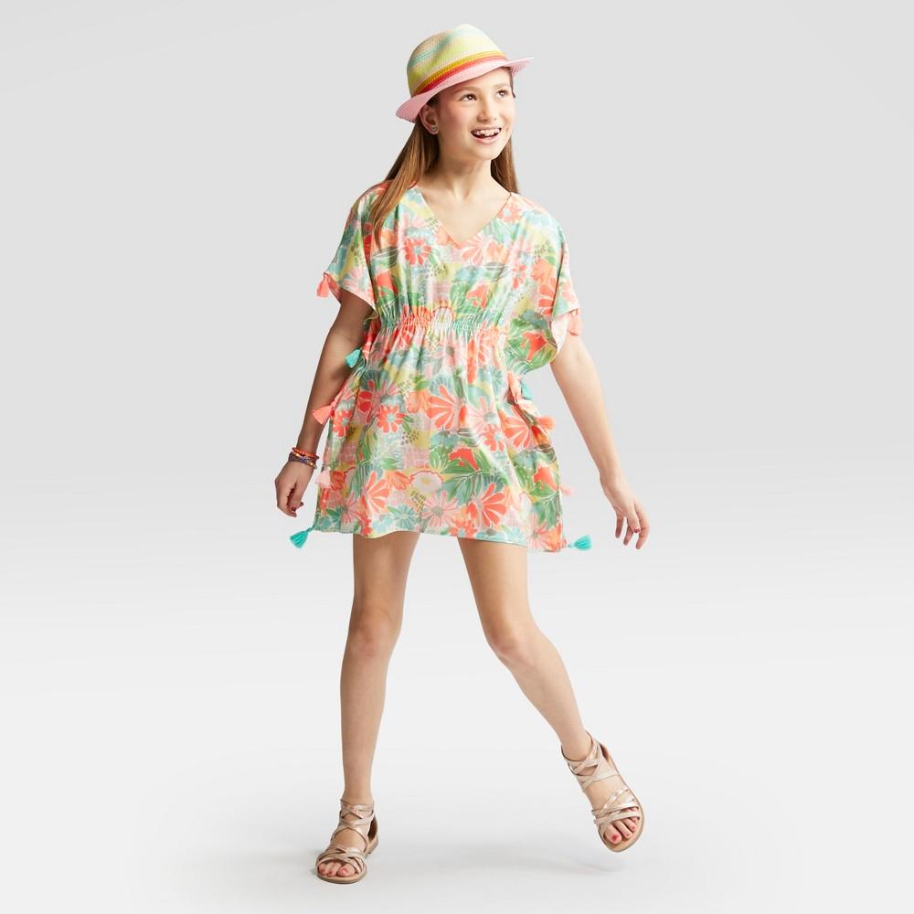 Girls' Floral Printed Tassel Cover Up Dress - Cat & Jack M, Multicolored