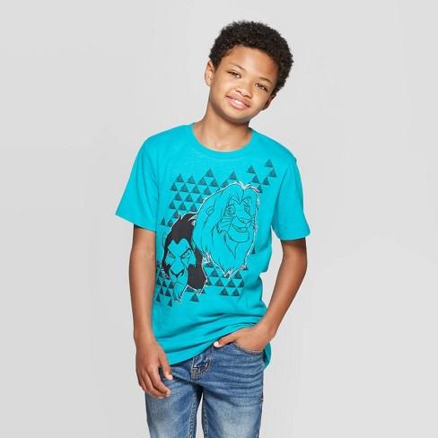 Boys' The Lion King Simba Curve Hem Short Sleeve T-Shirt - Turquoise Heather - image 1 of 3