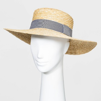 Women's Wheat Straw Boater Hats - A New Day™ Natural One Size
