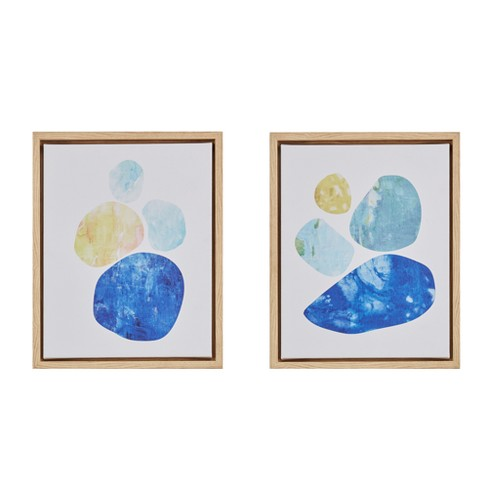 Stacked Circles Framed Canvas Blue 14\