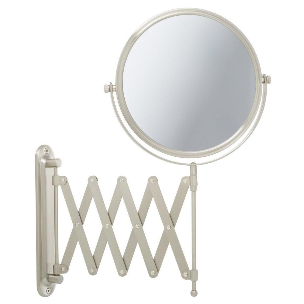 Jerdon 7X-1X Wall Mount Mirror with Scissor Bracket Nickel