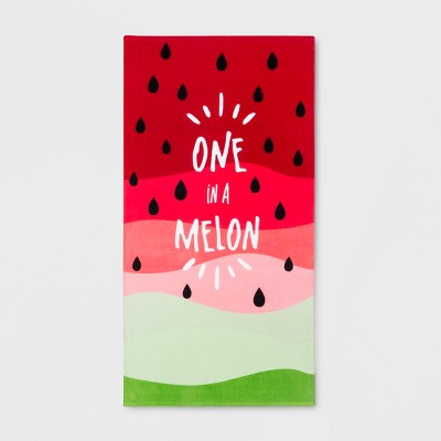 One in a Melon Beach Towel Red/Green - Sun Squad™