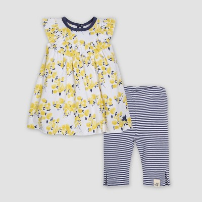 Burt's Bees Baby® Organic Cotton Girls' Tulips Dress & Capri Leggings Set - Yellow 18M