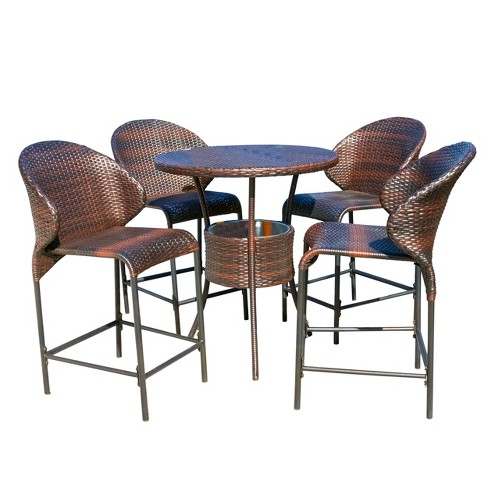 5pc Wicker Outdoor Bistro Bar Set with Ice Pail - Multibrown - Christopher Knight Home - image 1 of 5