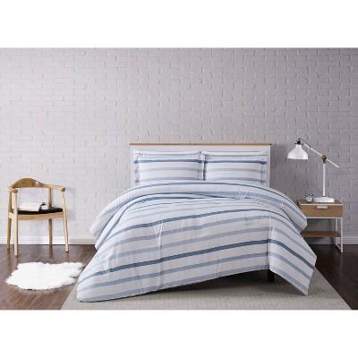 Waffle Stripe Comforter Set Blue/White - Truly Soft