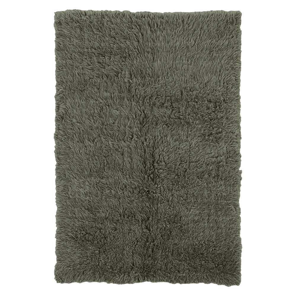 Image of 100% New Zealand Wool Flokati Area Rug - Olive (8' Round), Green Green