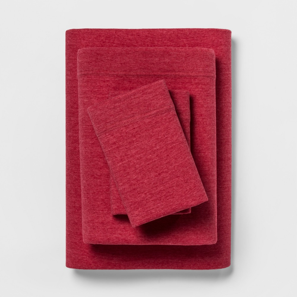 Jersey Sheet Set (Twin Extra Long) Heather Red - Room Essentials was $19.99 now $13.99 (30.0% off)