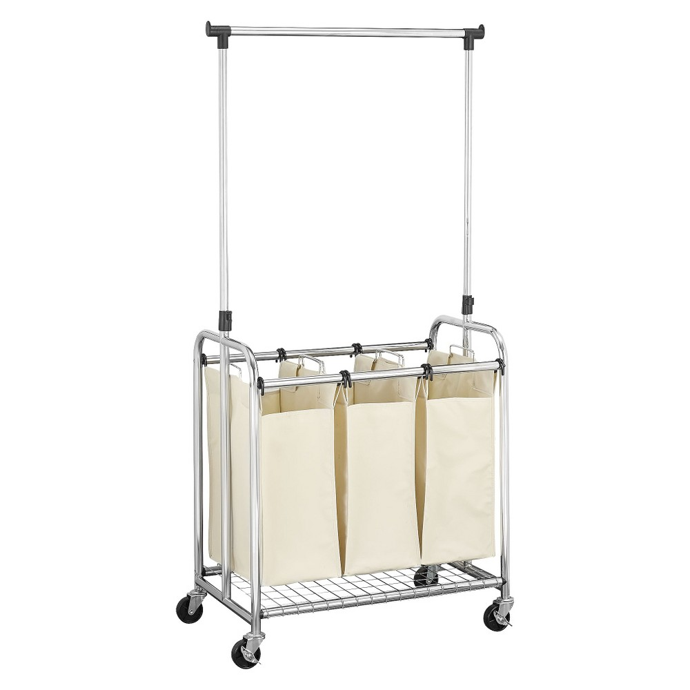 Household Essentials Triple Laundry Sorter with Removable Clothes Rack - Natural/Chrome (Natural/Grey)