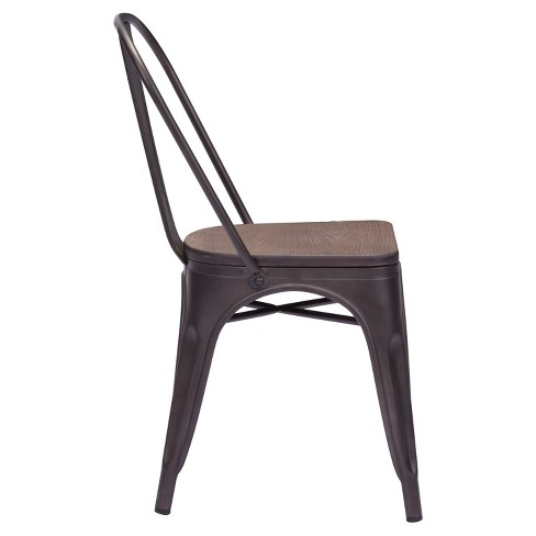 e8e8a0c6d8bc Industrial Style Metal And Rustic Wood Dining Chairs (Set Of 2) - ZM Home    Target