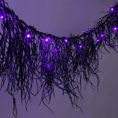 6' 20ct LED Black Glitter Garland Battery Operated Halloween String Lights with Timer - Hyde & EEK! Boutique™