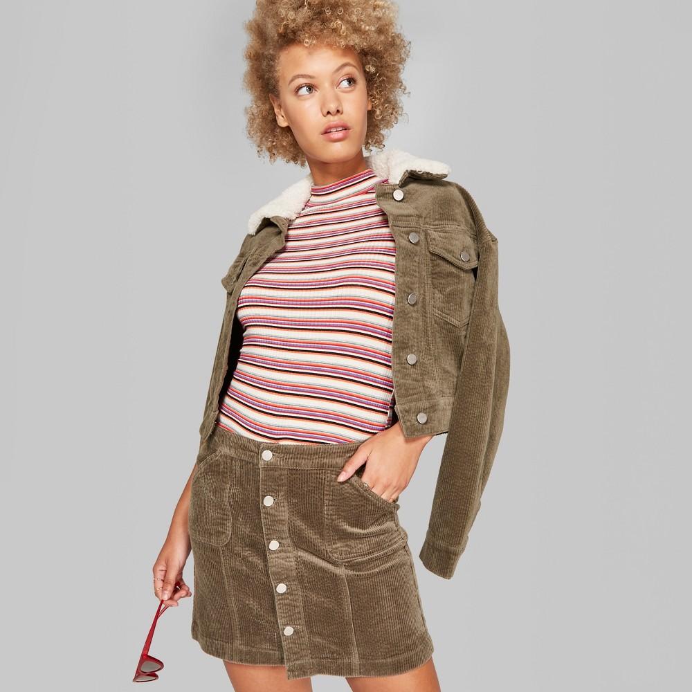 Women's Corduroy Mini Skirt - Wild Fable Olive 16, Green