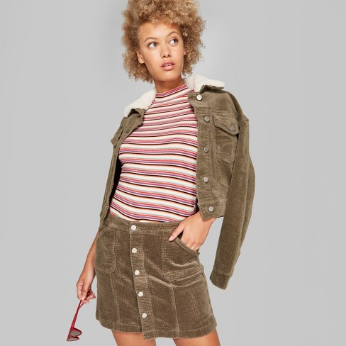 Women's Corduroy Mini Skirt - Wild Fable™ Olive - image 1 of 3