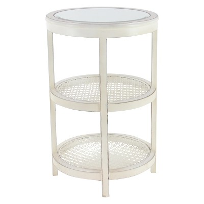 Metal and Wood 3 Tier Round Accent Table White - Olivia & May
