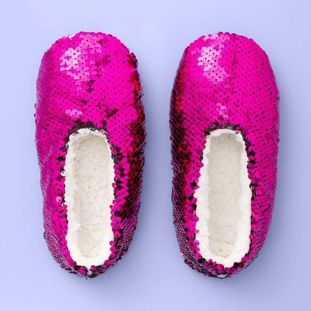 Image of Girls' Flip Sequin Slipper Socks - More Than Magic Hot Pink M/L, Girl's, Size: Medium/Large