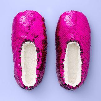 Girls' Flip Sequin Slipper Socks - More Than Magic™ Hot Pink XS/S
