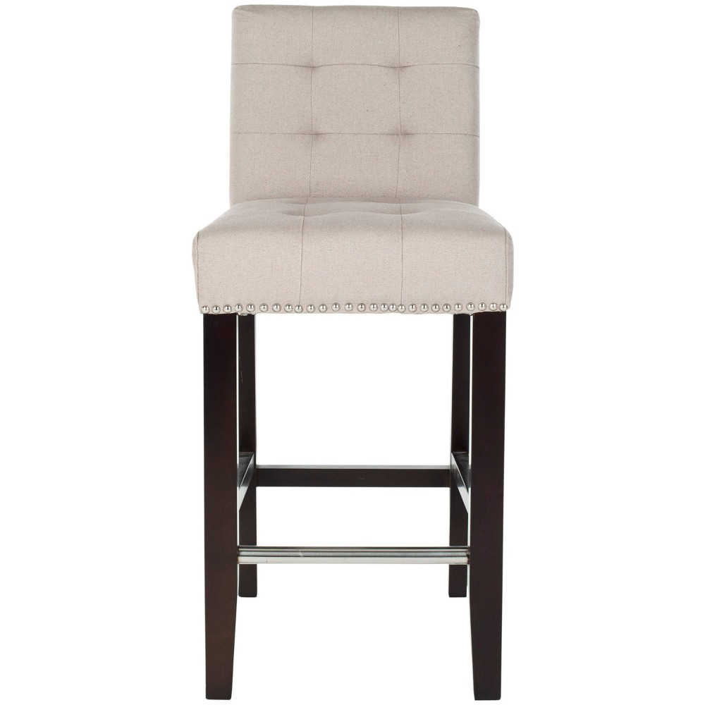 """Image of """"23.4"""""""" Thompson Tufted Linen Counter Stool - Taupe - Safavieh, Brown Linen"""""""