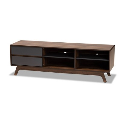 2 Drawer Koji Two-Tone Wood TV Stand Gray/Walnut - Baxton Studio