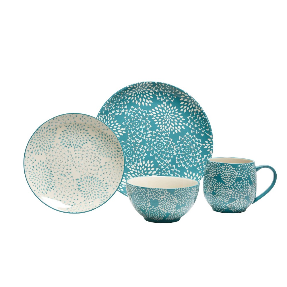Image of 16pc Stoneware Mums Dinnerware Set Blue - Baum Bros.