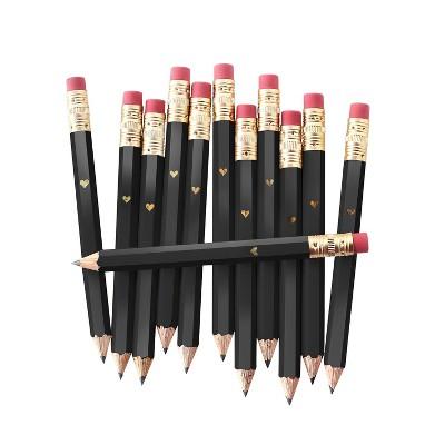 12ct #2 Mini Heart Shaped Pencils Black