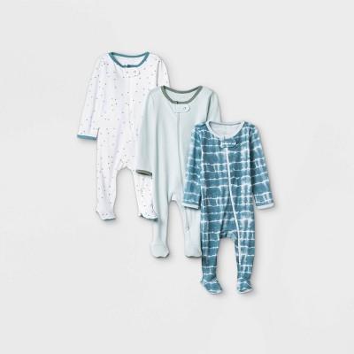 Baby Boys' 3pk Tie-Dye Sleep N' Play - Cloud Island™ Blue 0-3M