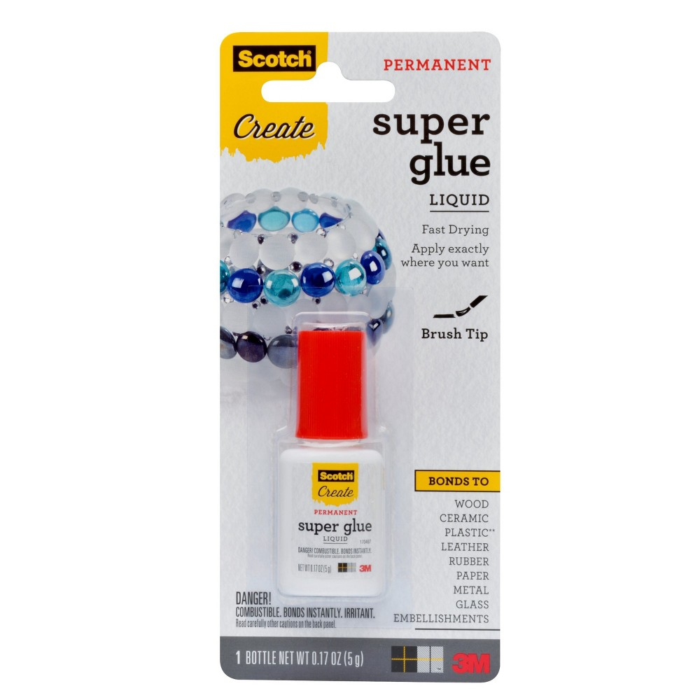 Scotch Super Glue Liquid Brush-On, .17 oz (5 g), Clear